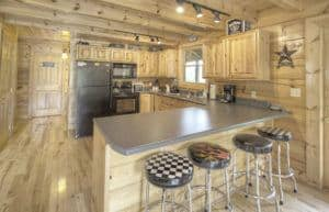 The kitchen in the Wild Hog Inn cabin in Sevierville TN.