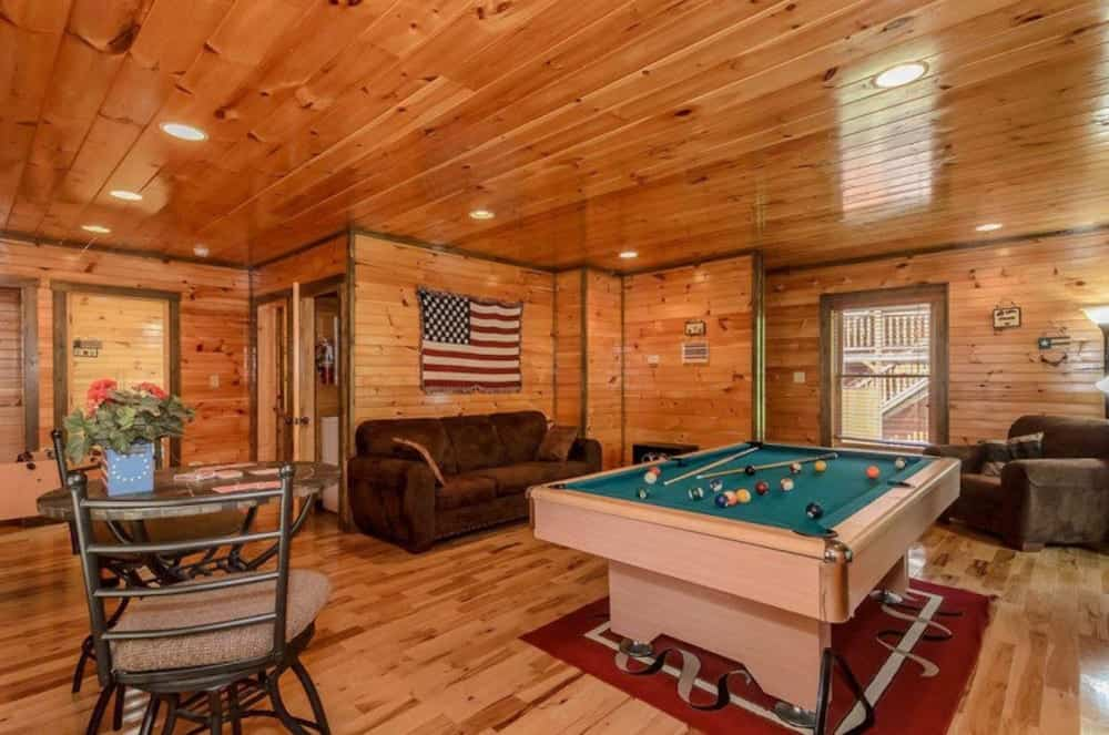 pool table in 3 bedroom cabin